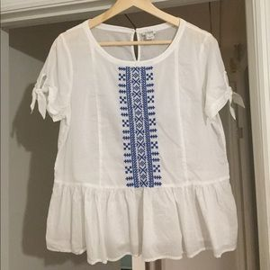 J Crew Short Tie Sleeve Blouse